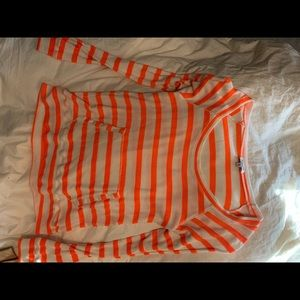 Splendid Orange & White Striped Long Sleeve